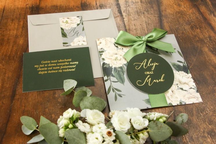 Szare zaproszenia ślubne w stylu glamour z białymi piwoniami
