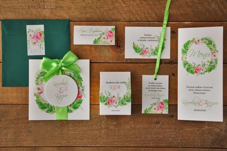 Zestaw próbny zaproszeń ślubnych w kolorowej kopercie wraz z dodatkami oraz upominkami dla gości weselnych - Akwarele nr 22