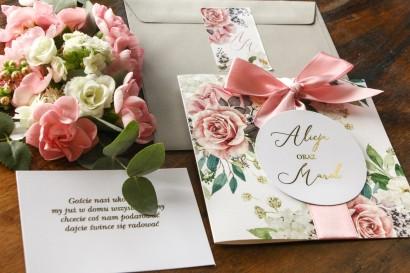 Delikatne zaproszenia ślubne w stylu glamour z dodatkiem pudrowych róż