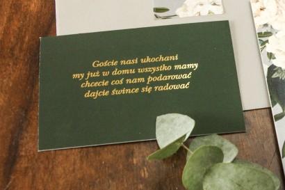 Zielony bilecik do kwiatowych zaproszeń ślubnych Soreli nr 1