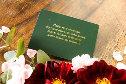 Zielony bilecik do kwiatowych zaproszeń ślubnych Soreli nr 2
