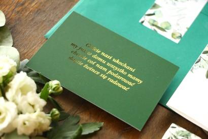 Zielony bilecik do kwiatowych zaproszeń ślubnych Soreli nr 5