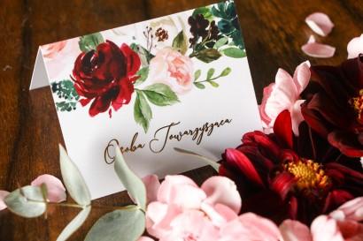 Eleganckie Winietki ślubne w stylu glamour z burgundowymi i bordowymi piwoniami oraz daliami