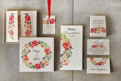 Zestaw próbny zaproszeń ślubnych z kwiatami peonii w kolorze łososiowym