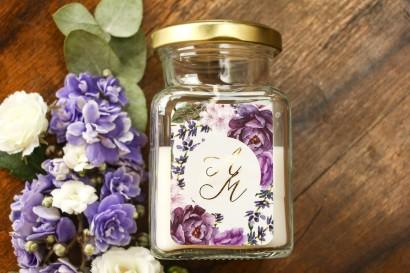 Świeczki - podziękowania dla gości weselnych w stylu Glamour. Złocona etykieta z motywem lawendy