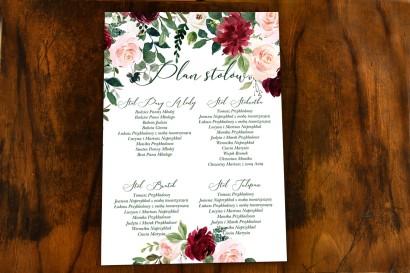 Kwiatowy Plan Stołów Weselnych z burgundowymi i bordowymi piwoniami oraz daliami, z dodatkiem różu