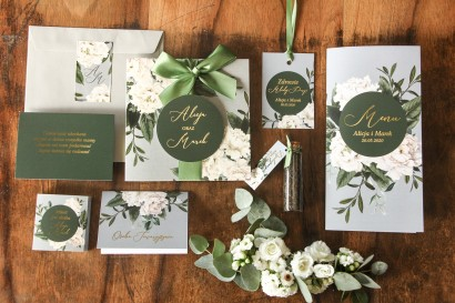 Szare zaproszenia ślubne w stylu glamour z białymi piwoniami - zestaw próbkowy