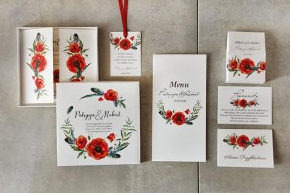 Zestaw próbny zaproszeń ślubnych w pudełku z czerwonymi makami