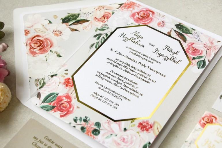 Wiosenne zaproszenia ślubne z pudrowymi, różowymi kwiatami róży i lilii