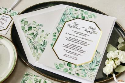 Botaniczne zaproszenia ślubne z eukaliptusem i złoconą ramką
