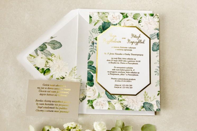 Geometryczne zaproszenia ślubne z białymi różami i piwoniami z dodatkiem zielonych gałązek