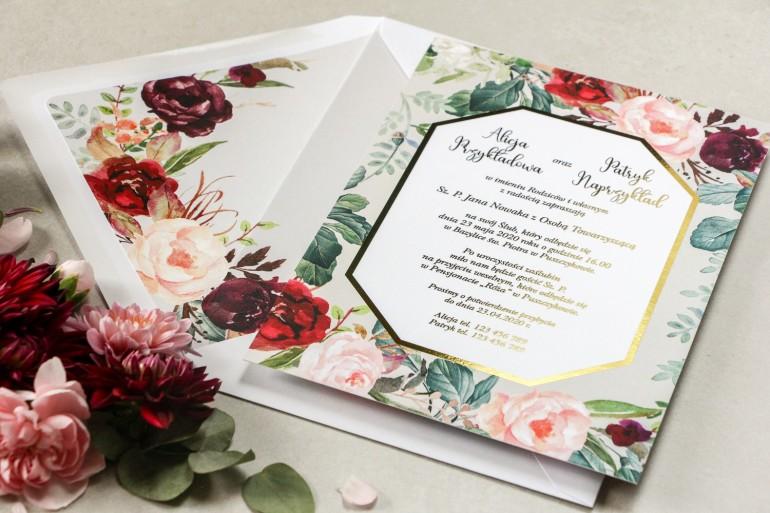 Zaproszenia ślubne w stylu glamour z burgundowymi i bordowymi piwoniami