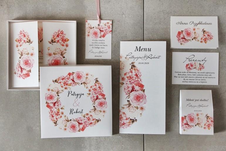Zestaw próbny zaproszeń ślubnych w pudełku z połączeniem róży i hortensji