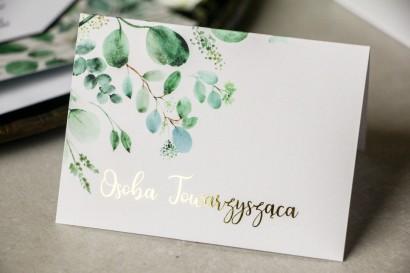 Botaniczne Winietki ślubne z eukaliptusem i złoceniami