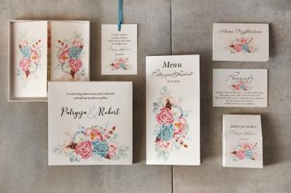 Zestaw próbny zaproszeń ślubnych w pudełku w stylu boho