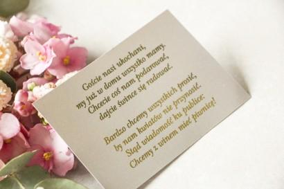 Złocony Bilecik do zaproszeń ślubnych w stylu Glamour w szarej kolorystyce