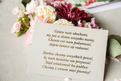 Złocony Bilecik do zaproszeń ślubnych w stylu Glamour w szarej kolorystyce do zaproszeń ślubnych Lotus nr 2