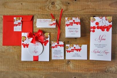 Zaproszenie ślubne z dodatkami - Akwarele nr 12 - Jesienne, jarzębina