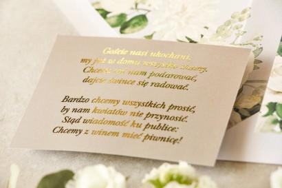 Złocony Bilecik do zaproszeń ślubnych w stylu Glamour w szarej kolorystyce do zaproszeń ślubnych Lotus nr 4