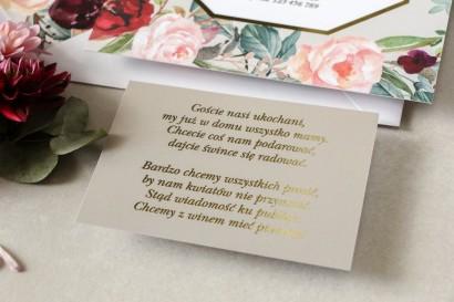 Złocony Bilecik do zaproszeń ślubnych w stylu Glamour w szarej kolorystyce do zaproszeń ślubnych Lotus nr 5