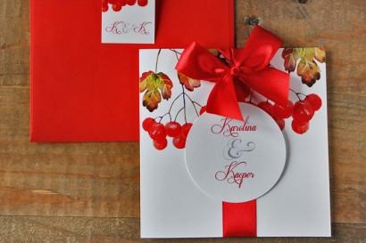 Zaproszenie ślubne z kokardą i kolorową kopertą - Akwarele nr 12 - Jesienna jarzębina