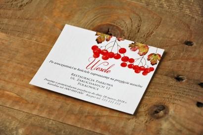 Bilecik do zaproszenia 120 x 98 mm prezenty ślubne wesele - Akwarele nr 12 - Jesienna jarzębina