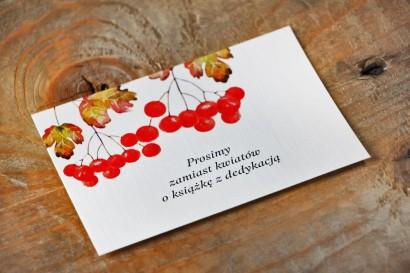 Bilecik do zaproszenia 105 x 74 mm prezenty ślubne wesele - Akwarele nr 12 - Jesienna jarzębina