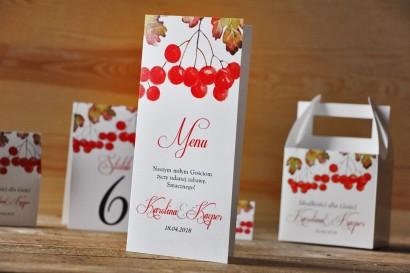 Menu weselne, stół weselny - Akwarele nr 12 - Jesienna jarzębina, jesienne wesele