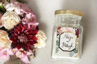 Świeczki - podziękowania dla gości weselnych w stylu Glamour - Lotus nr 5