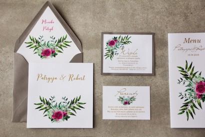 Zaproszenia ślubne ze złoceniem, zieloną kompozycją gałązek oraz kwiatami róży. Złote zaproszenia ślubne - Cykade nr 4