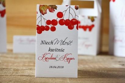 Podziękowania dla Gości weselnych - nasiona Niezapominajki - Akwarele nr 12 - Jesienna jarzębina