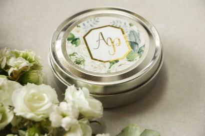 Świeczki okrągłe - podziękowania dla gości weselnych w stylu Glamour - Lotus nr 4
