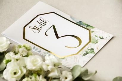 Numery stolików weselnych ze złoceniem w stylu Glamour - Lotus nr 4