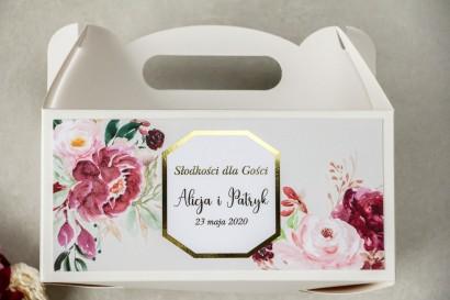 Pudełko na Ciasto weselne (prostokątne) ze złoceniem - podziękowania dla gości weselnych - Lotus nr 2