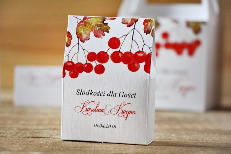 Pudełeczko stojące na cukierki, podziękowania dla Gości weselnych - Akwarele nr 12 - Jesienna jarzębina