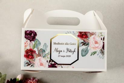 Pudełko na Ciasto weselne (prostokątne) ze złoceniem - podziękowania dla gości weselnych - Lotus nr 5