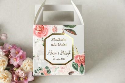 Pudełko na Ciasto weselne (kwadratowe) ze złoceniem - podziękowania dla gości weselnych - Lotus nr 1