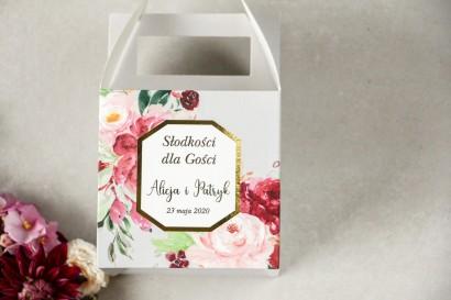 Pudełko na Ciasto weselne (kwadratowe) ze złoceniem - podziękowania dla gości weselnych - Lotus nr 2