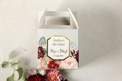 Pudełko na Ciasto weselne (kwadratowe) ze złoceniem - podziękowania dla gości weselnych - Lotus nr 5