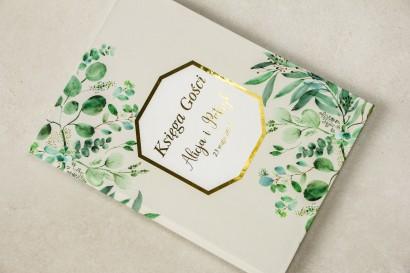 Wiosenna Weselna Księga Gości ze złoceniami z eukaliptusem