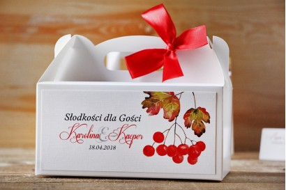 Prostokątne pudełko na ciasto, tort weselny, ślub - Akwarele nr 12 - Jesienna jarzębina