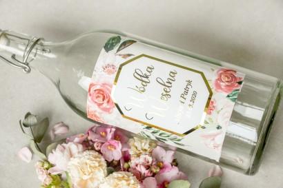 Etykiety samoprzylepne na butelki weselne na alkohol ze złoconą ramką i napisami - Lotus nr 1