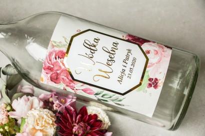 Etykiety samoprzylepne na butelki weselne na alkohol ze złoconą ramką i napisami - Lotus nr 2