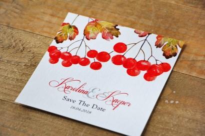 Bilecik Save The Date do zaproszenia - Akwarele nr 12 - Jesienna jarzębina