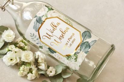Etykiety samoprzylepne na butelki weselne na alkohol ze złoconą ramką i napisami - Lotus nr 4