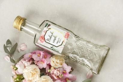 Butelki na nalewki wraz z etykietą w stylu glamour ze złoconą ramką i tekstem - Lotus nr 1