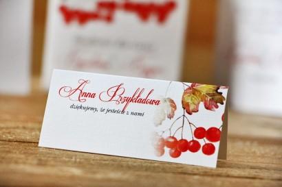 Winietki na stół weselny, ślub - Akwarele nr 12 - Jesienna jarzębina