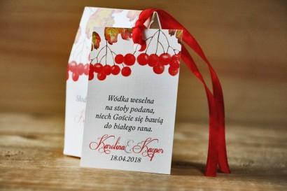 Zawieszka na butelkę, wódka weselna, ślub - Akwarele nr 12 - Jesienna jarzębina