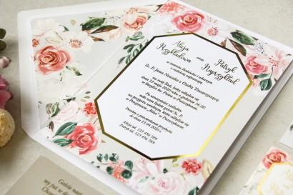 Próbka zaproszenia ślubnego ze złoceniem z kolekcji Lotus nr 1