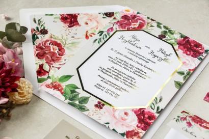 Próbka zaproszenia ślubnego ze złoceniem z kolekcji Lotus nr 2